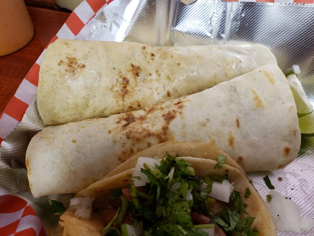 Tacos and burritos from Mami Coco in Dallas, Texas